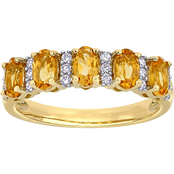 Citrine and 1/6 CT TW Diamond Semi-Eternity Band in 14k Yellow Gold