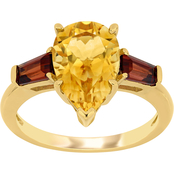 Citrine and Garnet Three-Stone Ring in 14k Yellow Gold