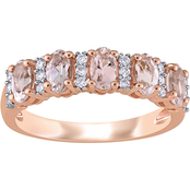 Sofia B. 1/6 CTW Diamond and Morganite Semi Eternity Band