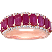 Ruby and 1/3 CT TW Diamond Semi-Eternity Band in 14k Rose Gold