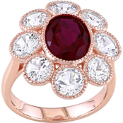 Sofia B. 10K Rose Gold Created Ruby and Created White Sapphire Floral Ring