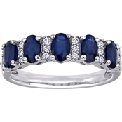 Sapphire and 1/6 CT TW Diamond Semi-Eternity Band in 14k White Gold