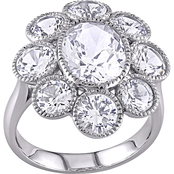 Created White Sapphire Floral Ring in 10k White Gold