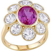 Created Pink and White Sapphire Floral Ring in 10k Yellow Gold