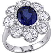 Created Blue and White Sapphire Floral Ring in 10k White Gold