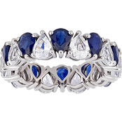 Pear-Cut Blue and White Sapphire Eternity Band in 14k White Gold