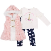 Little Lass Infant Girls Believe in Magic Unicorn Fur Vest 3 pc. Set