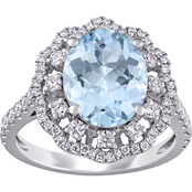 Sofia B. 14K White Gold 3/4 CTW Diamond and Oval-Cut Aquamarine Halo Ring