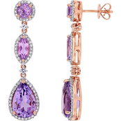 Sofia B. 14K Rose Gold 5/8 CTW Diamond, Amethyst and White Sapphire Dangle Earrings