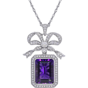 Sofia B. 14K White Gold 1 1/4 CTW Diamond, Amethyst and White Sapphire Bow Necklace