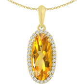 10K Gold 1/6 CTW Diamond with Citrine Elongate Oval Pendant