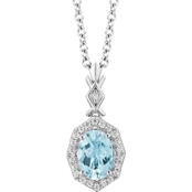 Disney Enchanted Sterling Silver 1/10 CTW Diamond and Sky Blue Topaz Elsa Pendant