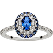 Sterling Silver Created Blue and White Sapphire Halo Ring