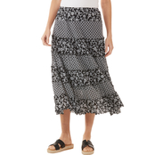 Passports Mix Print Mesh Skirt with Tiers