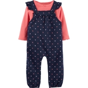 Carter's Infant Girls Tee and Heart Knit Overalls 2 pc. Set