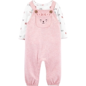 Carter's Infant Girls Tee and Animals Knit Overalls 2 pc. Set