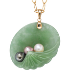 PalmBeach 14K Yellow Gold Jade and Pearl Shell Pendant