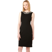 Calvin Klein Sheath Dress with Embellished Neck