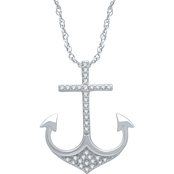 Sterling Silver 1/10 CTW Diamond Anchor Pendant