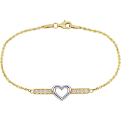 Sofia B. 10K Gold Two-Tone White Topaz Heart Bar Bracelet