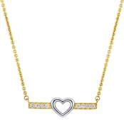 Sofia B. 10K Gold Two-Tone White Topaz Heart Bar Necklace