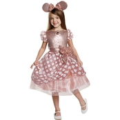 Disguise Ltd. Little Girls Rose Gold Minnie Deluxe Costume Size 4-6
