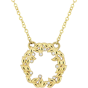 Textured Circle of Life Necklace in 10k Two-Tone Gold