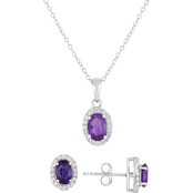 Sterling Silver Amethyst and White Topaz Oval Pendant and Earrings Set