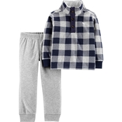 Carter's Infant Boys 2 pc. Plaid Fleece Pullover and Jogger Set
