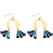 Panacea Navy Horseshoe Crystal Earrings
