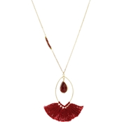 Panacea Red Crystal Marquis Tassel Necklace