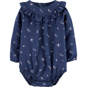 OshKosh B'gosh Infant Girls Navy Floral Bodysuit