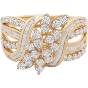 10K Yellow Gold 1 CTW Diamond Multi Row Ring Size 7