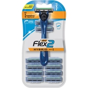 BIC Flex2 Hybrid Men's Twin Blade Razor, Handle + 10 Cartridges