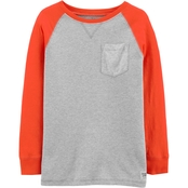 OshKosh LS Raglan Pocket Thermal Grey HTR /Hazard Orange