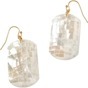 Spartina 449 Goldtone Rectangle Crushed Mother-of-Pearl Earrings