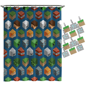 Minecraft Isometric Shower Curtain and Hook Set