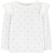 OshKosh B'gosh Toddler Girls Ivory and Gold Star Top