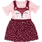 Little Lass Toddler Girls French Terry Lapped Sleeves Dress 2 pc. Set