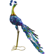 Alpine Graceful Metal Peacock Garden Statue