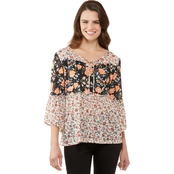 JW Mixed Print Tiered Mesh Top