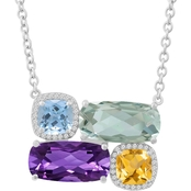 Sterling Silver Multi Stone and White Topaz Necklace