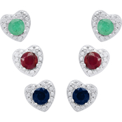 SS Genuine Emerald, Ruby and Sapphire Heart Earrings Set
