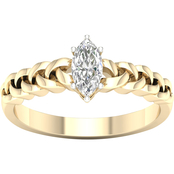 14K White Gold 3/8 CTW Diamond Marquise Solitaire Ring, Size 7