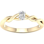 14K White Gold 1/5 CTW Diamond Oval Solitaire Ring