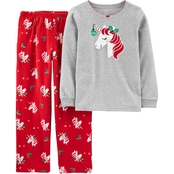 Carter's Little Girls Fleece Colorway Pajamas 2 pc. Set