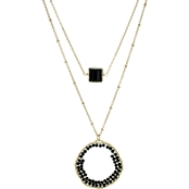 Panacea Black Pre Layered Crystal Necklace