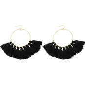 Panacea Cotton Tassel Hoop Earrings
