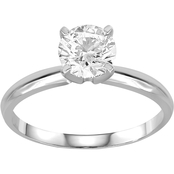 14K White Gold 1 CTW Diamond Solitaire Ring Size 7