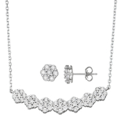 1/2 CTW Diamond Flower Necklace and Earring Set In Sterling Silver